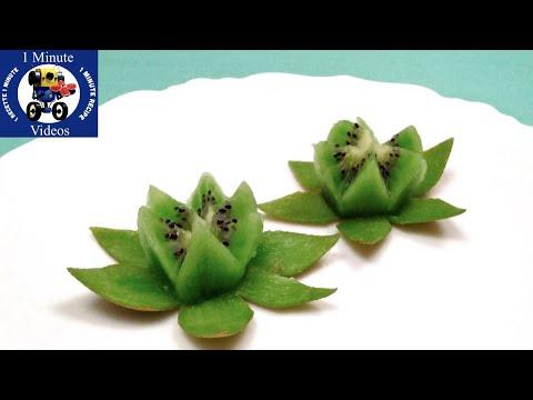 Cómo Hacer una Flor de Loto con un Kiwi / Enseñar, Divertidas, Vídeo, Fruta, DIY