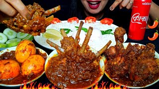 ASMR:EATING SPICY MUTTON RIBS MASALA,SPICY CHICKEN JHAL FRY,EGG CURRY WITH BASMATI RICE #HUNGRYGIRL