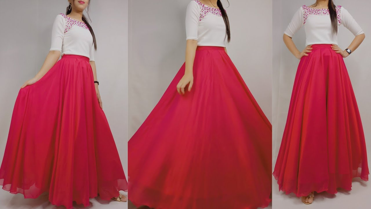 Party wear skirt cutting and stitching / long skirt cutting and stitching / full circular skirt