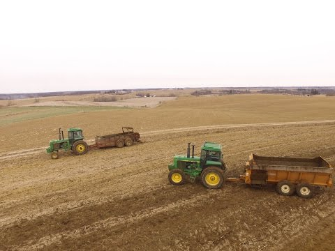 Spreading Manure with Two Spreaders!