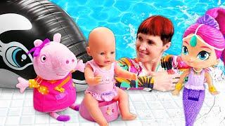 Кукла в бассейне! Беби Бон Эмили в гостях у касатки. Мультик из игрушек с Машей Капуки