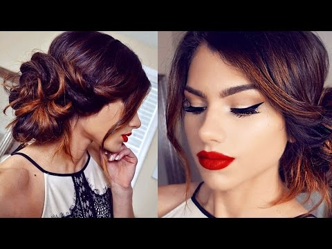 Simple HOLIDAY Makeup Tutorial! + Side Bun Hairstyle!