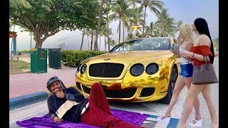 HOMELESS in GOLD BENTLEY for 24 hrs Pt 4 MIAMI Gold Digger Prank Social Experiment