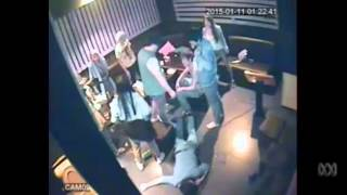Security footage show a couple being bashed by a group in a Melbourne karaoke bar