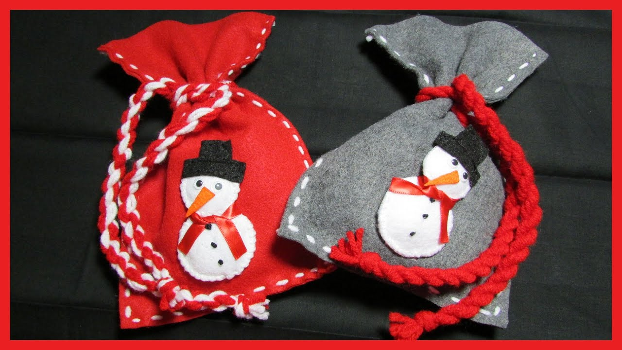 How to make Christmas Snowman Gift Bags - Free tutorial - YouTube