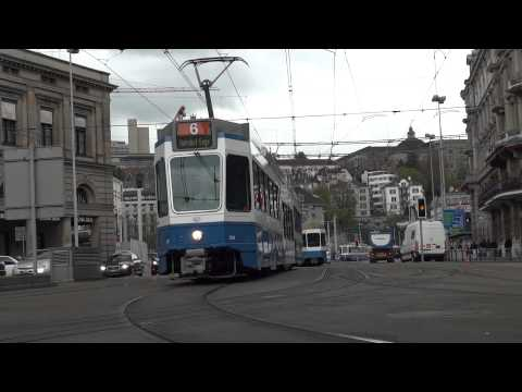 Streetcars at the main station Zurich 12