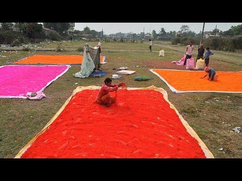 شاهد: العمال في الهند يحضرون المساحيق الملونة للاحتفال بمهرجان هولي…