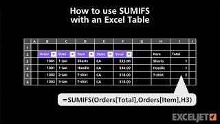 How to use SUMIFS with an Excel Table