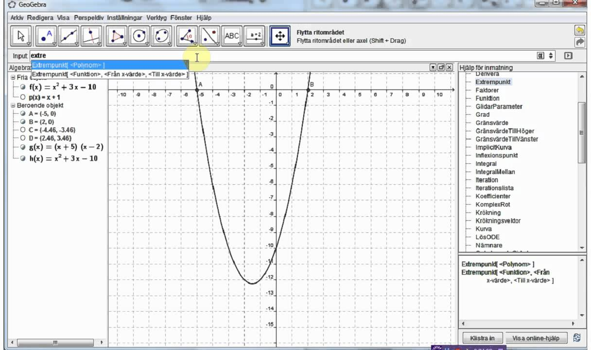 Ma3c Några användbara kommandon i Geogebra
