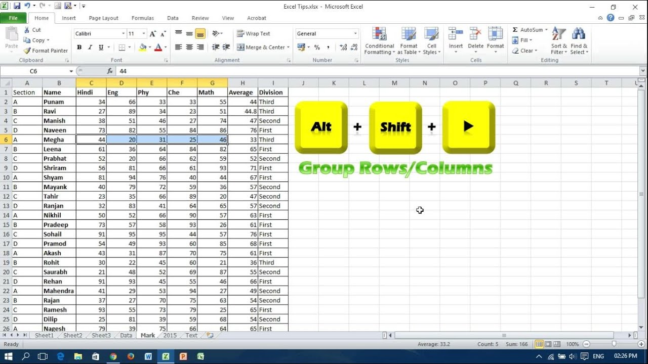 worksheet Grouping Worksheets In Excel microsoft excel keyboard shortcuts to group or ungroup rows and columns