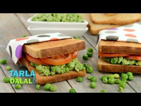 Green Peas Sandwich (Healthy Kids Recipe) by Tarla Dalal
