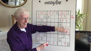Sudoku Tutorial #62. How to spot an X wing using rows, and then knowing what to do!