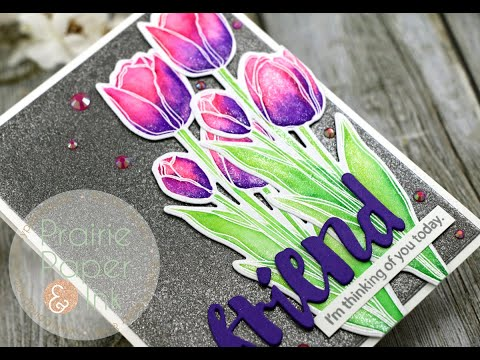 SUPER Sparkly Card | Sketch Tulip Bouquet Take 3