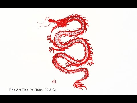 How to Paint a Chinese Dragon (or Korean) - Like Tattoo Drawing