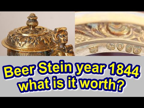 Sterling Silver Beer Stein Antique Ruby Glass England Early Victorian Year 1844 & what it is worth