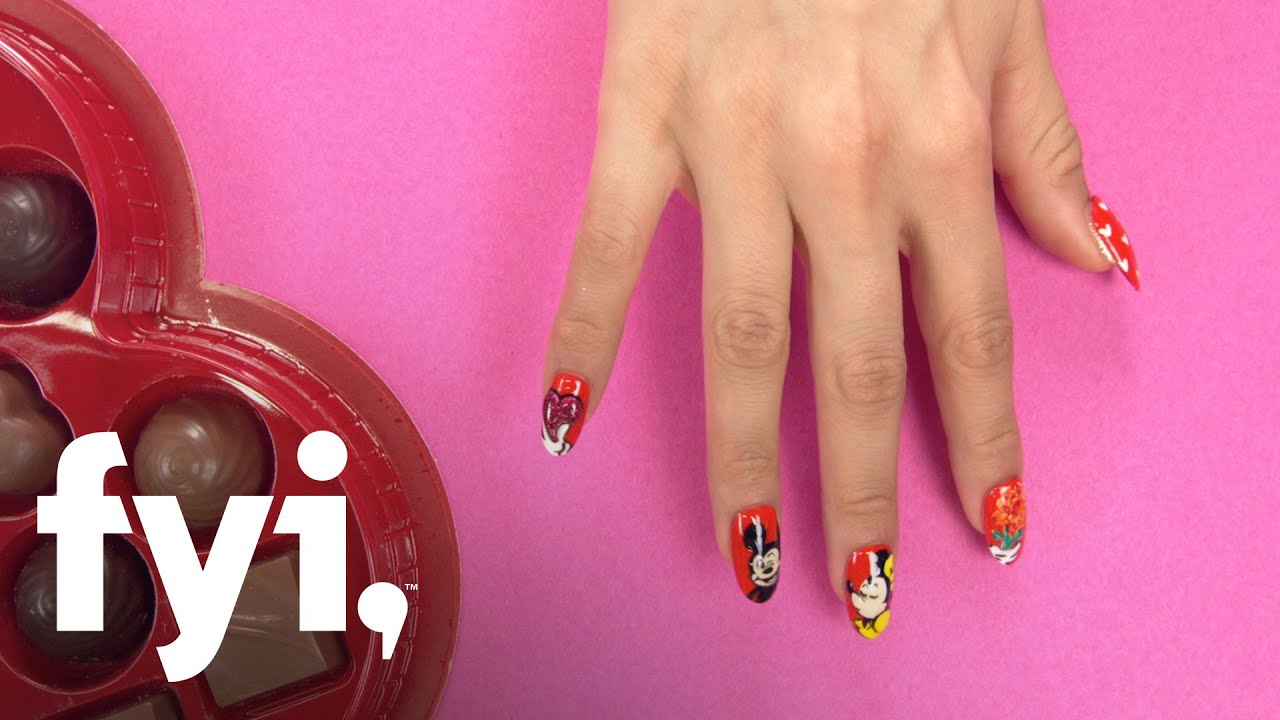 Valentines Nail Art Tutorial Mickey And Minnie Mouse Nails Fyi
