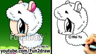 Mei Yu - Fun2draw - How to Draw Cute Animals - Cartoon Sheep - Easy Drawings