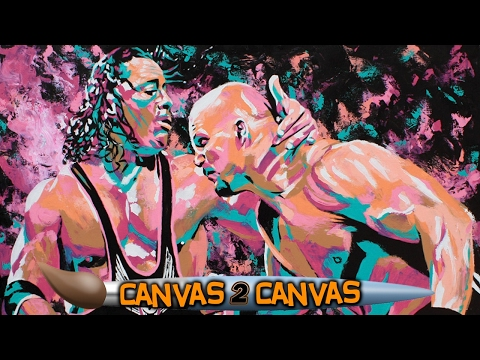 Rob Schamberger paints Bret Hart & Stone Cold at Wizard World: WWE Canvas 2 Canvas