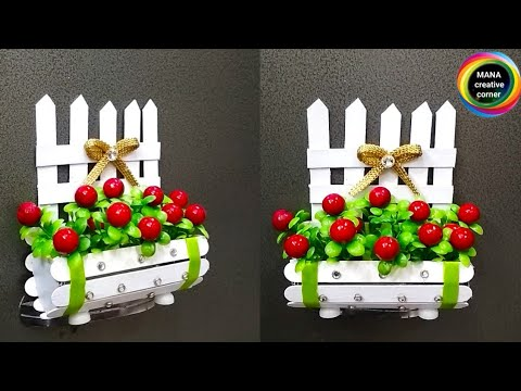 How To Make Flower Basket Show Piece From Ice Cream Sticks Popsicle Sticks Craft Idea Art Craft
