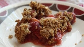 Vegan Rhubarb Crumble Recipe - Rhubarb Strawberry Pie - Dessert A Day Project #5