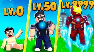 Evolving in MAX LEVEL IRONMAN HERO in Roblox (Superhero Simulator)