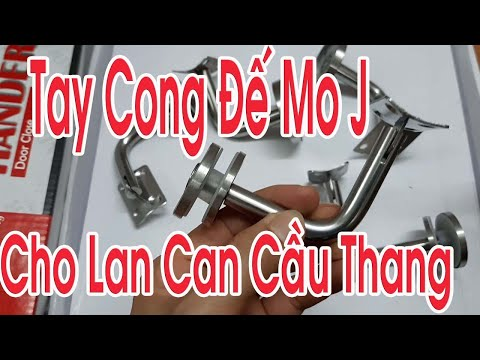 Lan can kính - Tay Cong Đế Mo J cho Lan Can Cầu Thang Kính