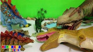 Lucha de Dinosaurios para niños - Tiranosaurio Rex vs Estegosaurio - Videos de Dinosaurios