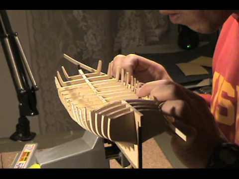 Ship Model - Armed Virginia Sloop, 1768 - Model Shipways, Preparing For Planking - Part 2 - YouTube