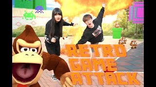 Retro Game Attack !!! (Retro game real life)