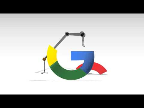 The new Google logo - Industrial robot in action