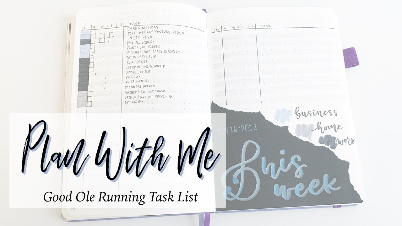 weekly bullet journal plan with me setting up a running task list