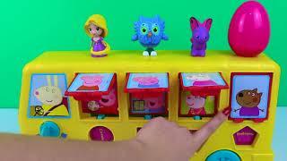 超级翅膀玩具惊喜在Peppa猪玩具活动巴士惊喜