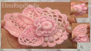 Crochet Floral Scrumble Урок 4 часть 1 из 2  мотив в технике фриформ