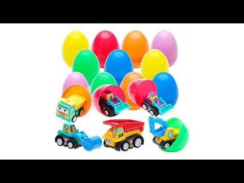 Prextex Toy Filled Easter Eggs Filled with Pull-Back Construction Vehicles