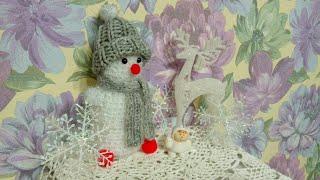 Связала к Новому году Снеговичка:))) ⛄