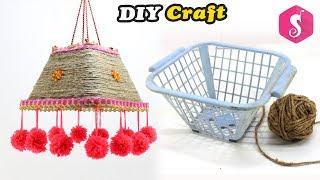 Broken Basket & Jute Craft Idea | Easy Craft | Ceiling Hanging from Old Basket
