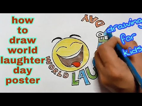 how to draw world laughter day poster || step by step drawing tutorial