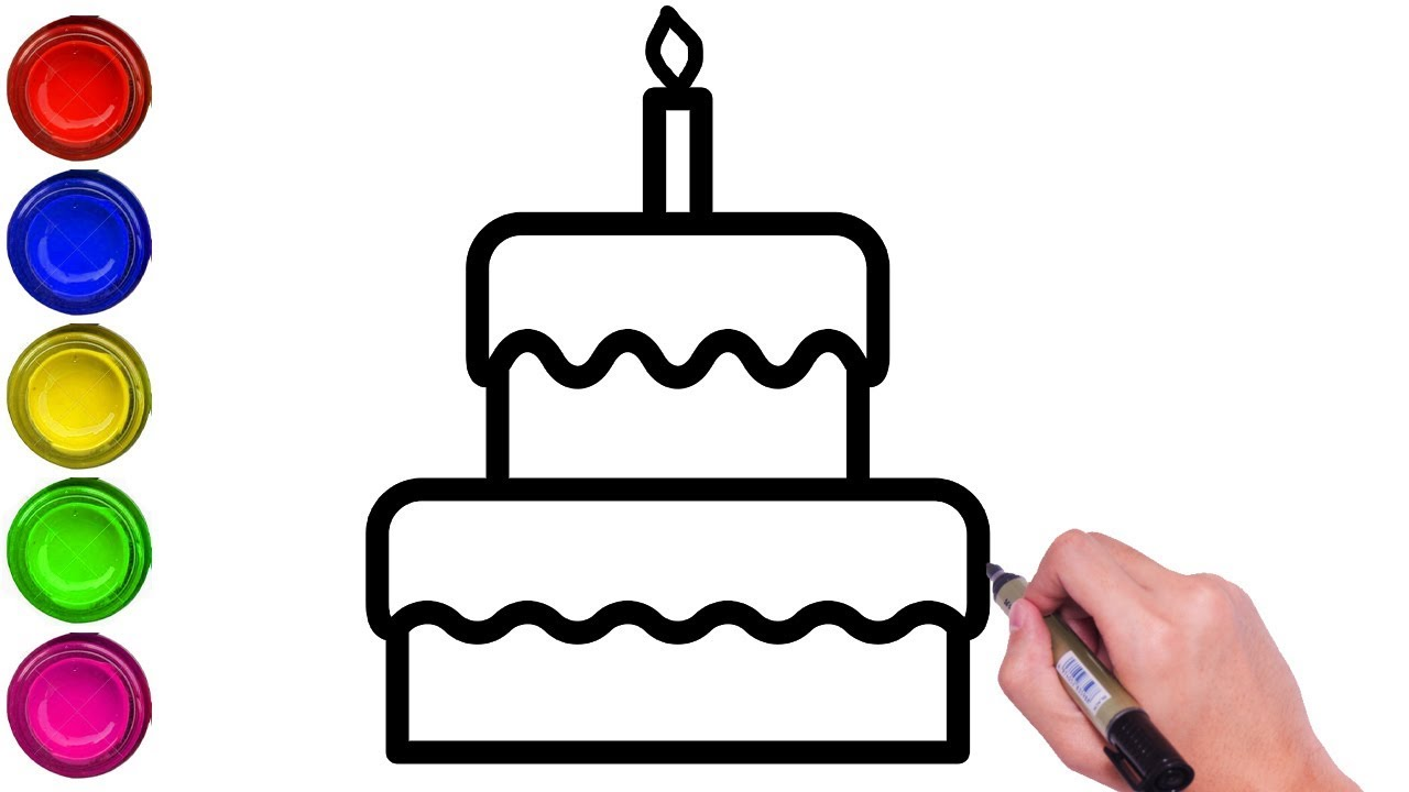 How To Draw Birthday Cake For Kids How To Draw Cake Step By Step Easy Birthday Cake Drawing Youtube