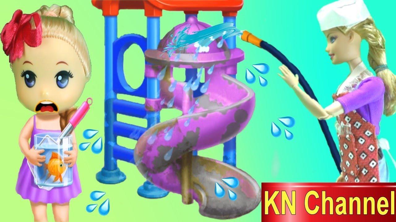 Đồ chơi trẻ em BÚP BÊ KN Channel TẬP LÀM LAO CÔNG TRONG TRƯỜNG HỌC #1