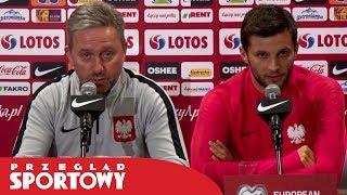 Jerzy Brzęczek i Bartosz Bereszyński przed meczem Polska - Macedonia Północna