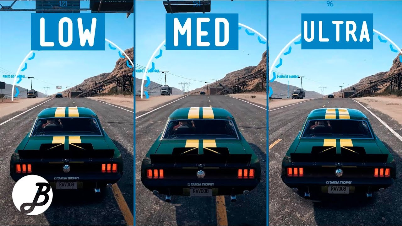 need for speed payback graphics comparison pc low vs. Black Bedroom Furniture Sets. Home Design Ideas