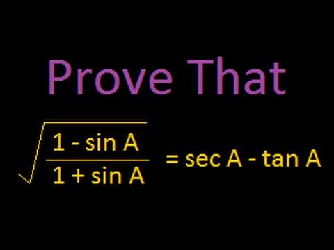 Proving equations : trigonometry