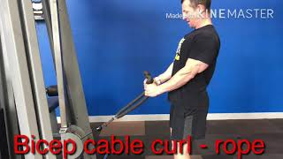 Bicep cable curl- rope