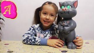 Кот Том говорящая интерактивная игрушка из компьютерной игры играет Леди Настя Tom Cat toy unboxing