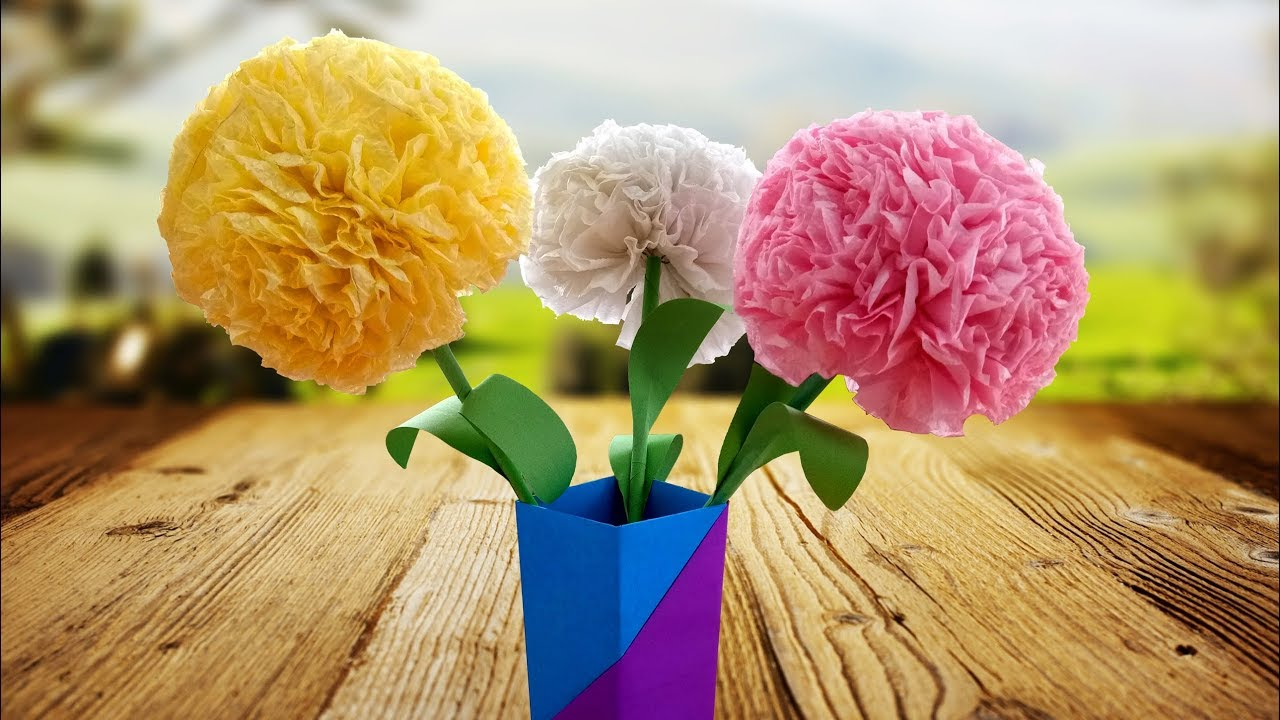 How To Make Tissue Paper Flowers By Very Easy Method Handmade Gift