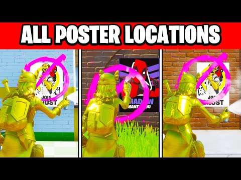 Deface GHOST Or SHADOW Posters 🔎 ALL LOCATIONS! (Fortnite Deadpool Week 6 Challenges)