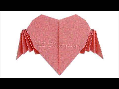 Origami Flying Heart (Aileen Edwin) Video Tutorial *HD*