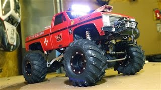 RC ADVENTURES CHEVY Mega Mud Truck 1 10th Scale Electric Dual Motor Setup w Steel Drive