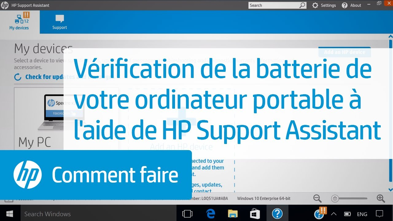Vérification de la batterie de votre ordinateur portable à l'aide de HP  Support Assistant