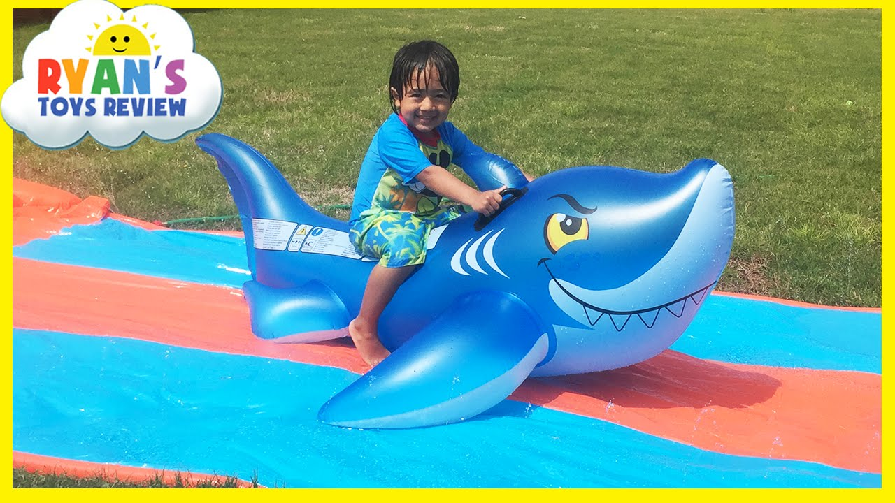 water slide for kids with giant shark h2o go inflatable toys
